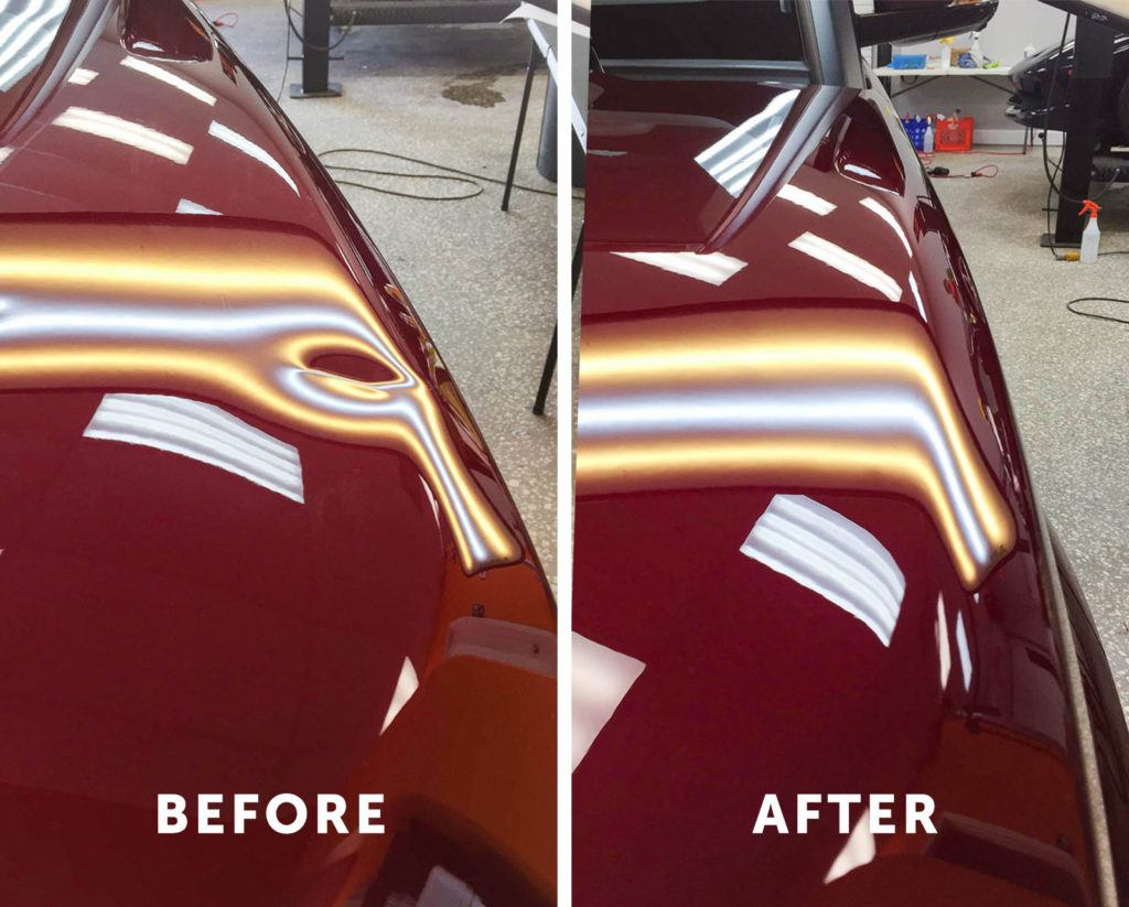 Paintless Dent Repair Before and After Comparison Tampa Florida - Auto Paint Guard